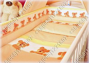 Детское постельное белье в кроватку, постельный комплект (мишка/точка бежевый), фото 2