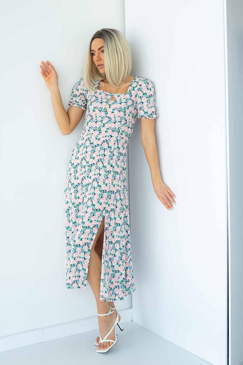 Длинное платье с квадратным вырезом и распоркой Barley - пудра цвет, L (есть размеры)