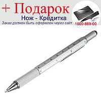 Шариковая ручка Genkky с отверткой, стилусом, линейкой и уровнем Синее чернило Серебристый