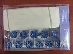 Штора для ванной 180х180 Arya Blue Daisy кремовая с синими цветами.