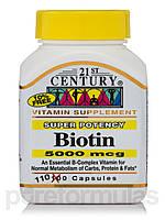 Биотин для волос Супер Сила, 110 капсул, 5000 мкг, 21st Century. Сделано в США.