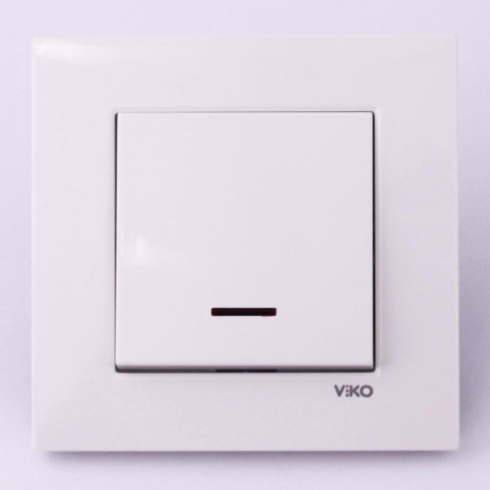 Выключатель одноклавишный VI-KO Karre с подсветкой скрытой установки (белый)