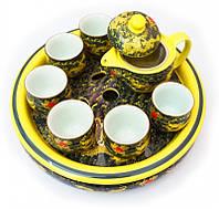 """Чайный набор """"Жёлтые Драконы на чёрном"""""""