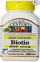 Биотин для волос, 110 таблеток, 266% суточной нормы, 800 мкг. Сделано в США.