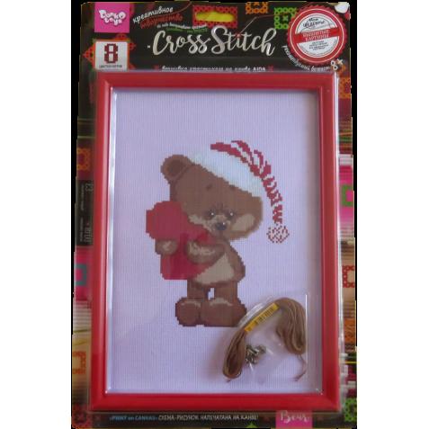 Набор для творчества Danko toys Вышивка крестиком Мишка с сердцем