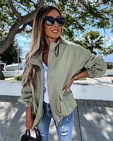 Женская куртка джинсовая хаки SKL11-289873