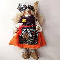 """Подарок """"Баба Яга с метлой"""" - игрушка ручной работы (хендмейд кукла 29х15 см) сувенир, оберег для дома"""