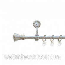 Карниз для штор металевий ЛЮКСОР однорядний 16мм 2.4 м Колір Біле золото