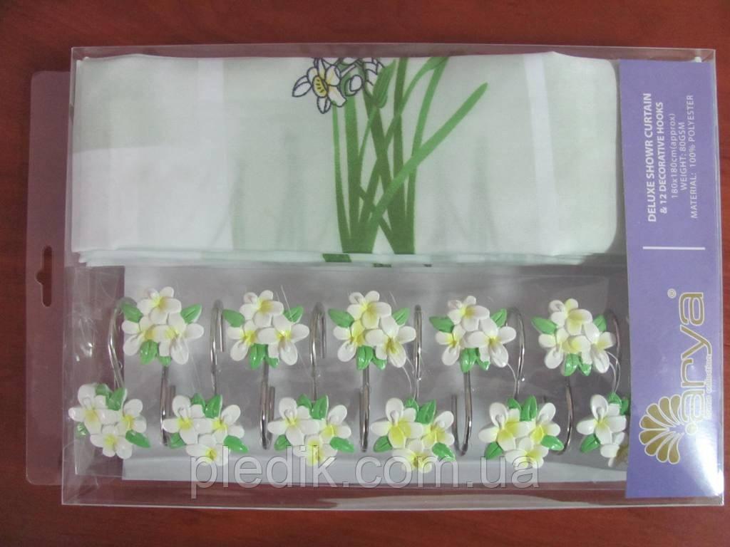 Штора для ванной 180х180 Arya Daisy белая с цветами
