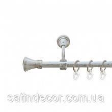 Карниз для штор металевий ЛЮКСОР однорядний 16мм 1.8 м Колір Біле золото
