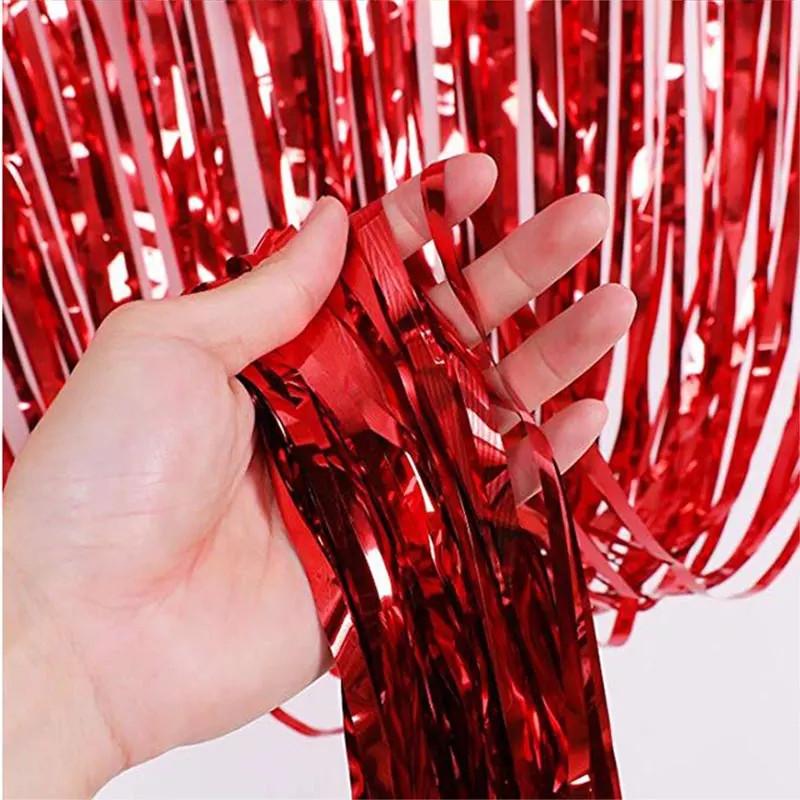 Шторка занавес из фольги для фото красная 1х2 метра
