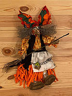 """Сувенир """"Баба Яга с метлой"""" - оберег ручной работы (кукла 40х15 см) хендмейд игрушка на подарок или для дома"""