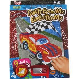 Набір для творчості Danko toys розмальовка по номерах гліттером, Машина