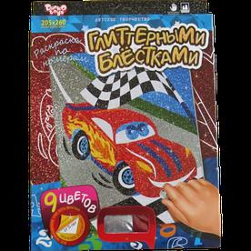 Набор для творчества Danko toys раскраска по номерам глиттером, Машина