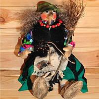 """Подарок """"Баба Яга с метлой"""" - оберег для дома (кукла хендмейд 40х15 см) игрушка-сувенир ручной работы"""