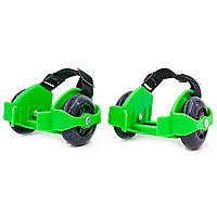 Ролики на п'яту двоколісні Record Flashing Roller, пластик, колесо PU, зелений (SK-166-(grn))