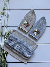 Демисезонный детский вязаный комплект шапочка с узором и снуд хомут для девочки ручной работы.