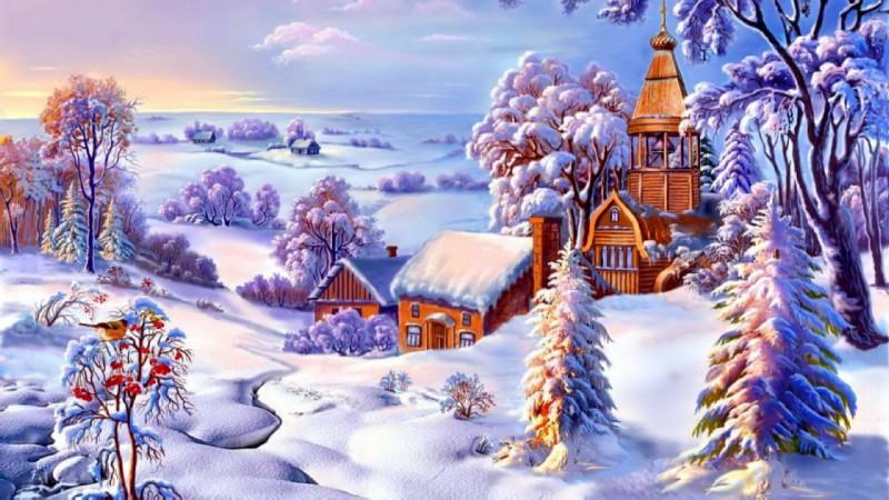 DM-380 Зимний пейзаж. Набор алмазной мозаики (70 х 40)
