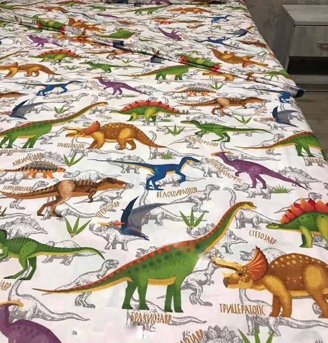 Євро простирадло бязеве - Динозаври