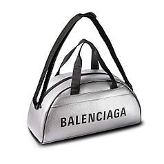 Спортивная фитнес-сумка баленсиага, Balenciaga для тренировок. Серебро. Кожзам