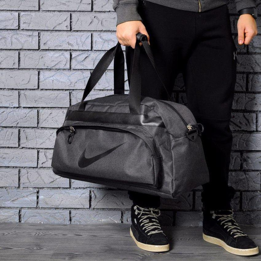 Не промокаемая сумка найк, Nike для спортазала і подорожей. Коттон. Темно-сіра