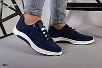 Кросівки чоловічі сині замшеві на білій підошві, фото 1