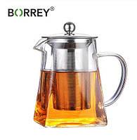 Скляний Чайник з запарником BORREY 550 мл
