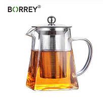 Скляний Чайник з запарником BORREY 950 мл