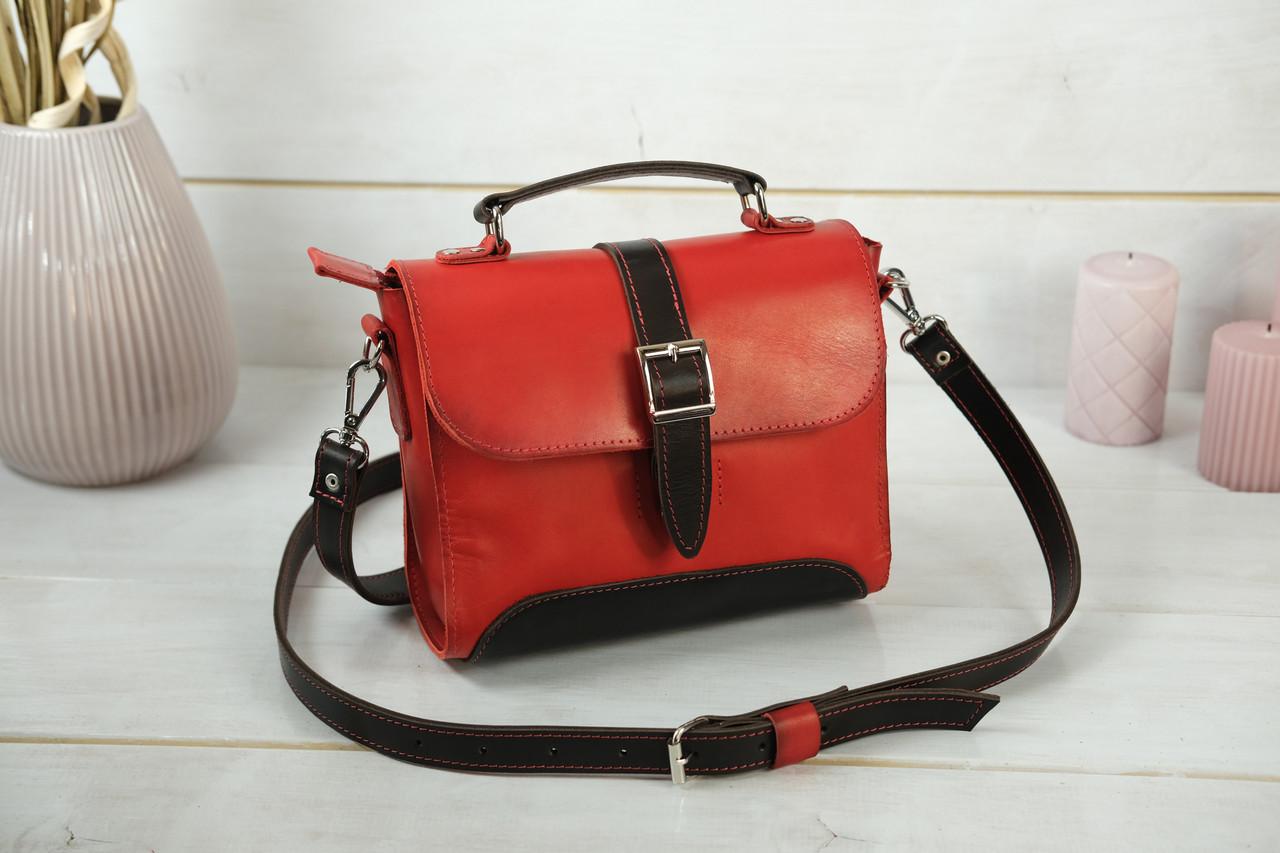 Сумка женская. Кожаная сумочка Марта, Кожа Итальянский краст, цвет Красный