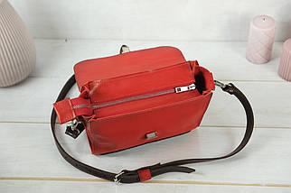 Сумка женская. Кожаная сумочка Марта, Кожа Итальянский краст, цвет Красный, фото 3