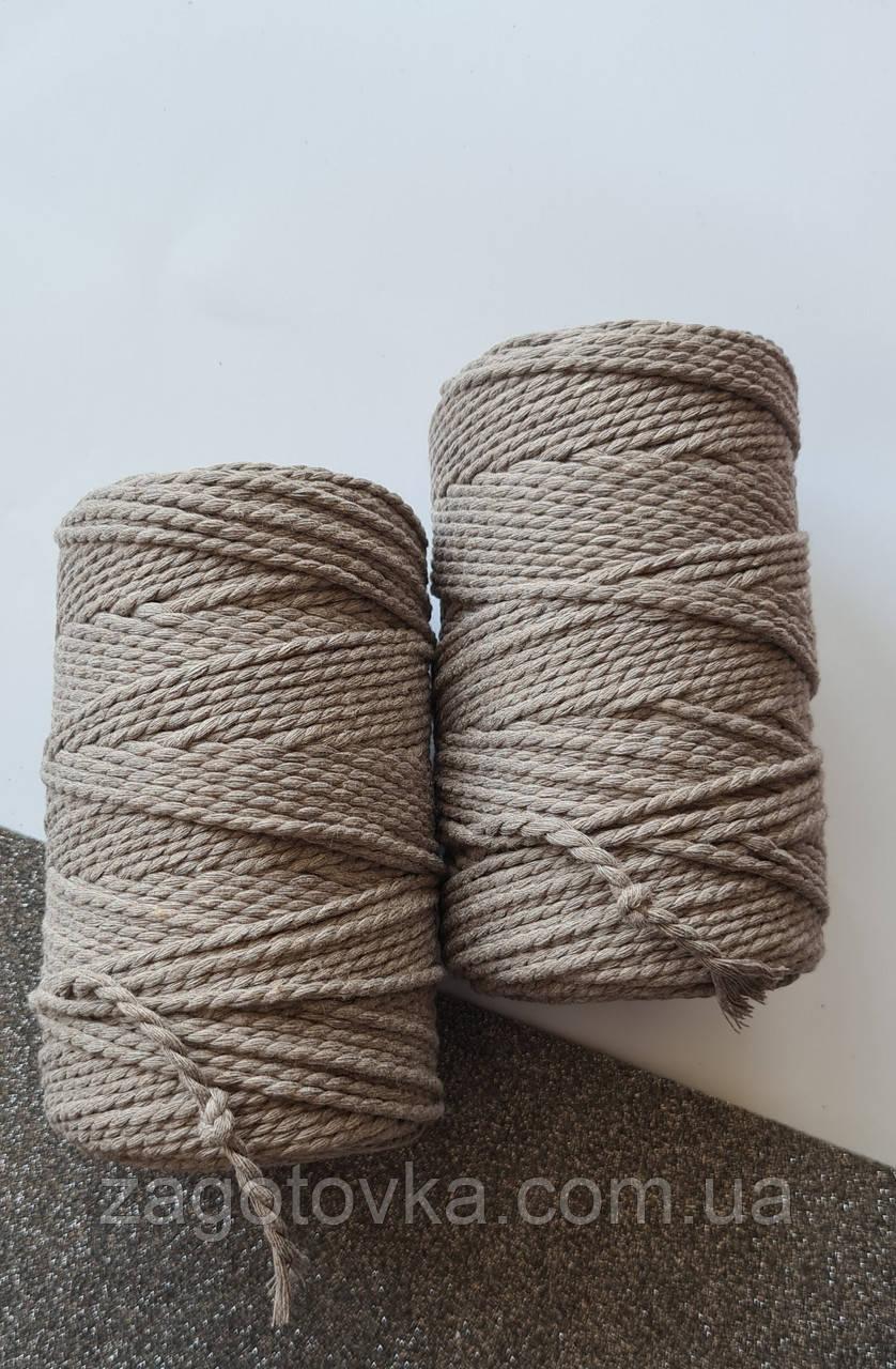 Шнур хлопковый крученный Макраме 3мм Мокачино