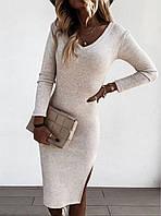 Женское молодежное ангоровое платье для девушек с боковым разрезомразмер 42-48,бежевого цвета