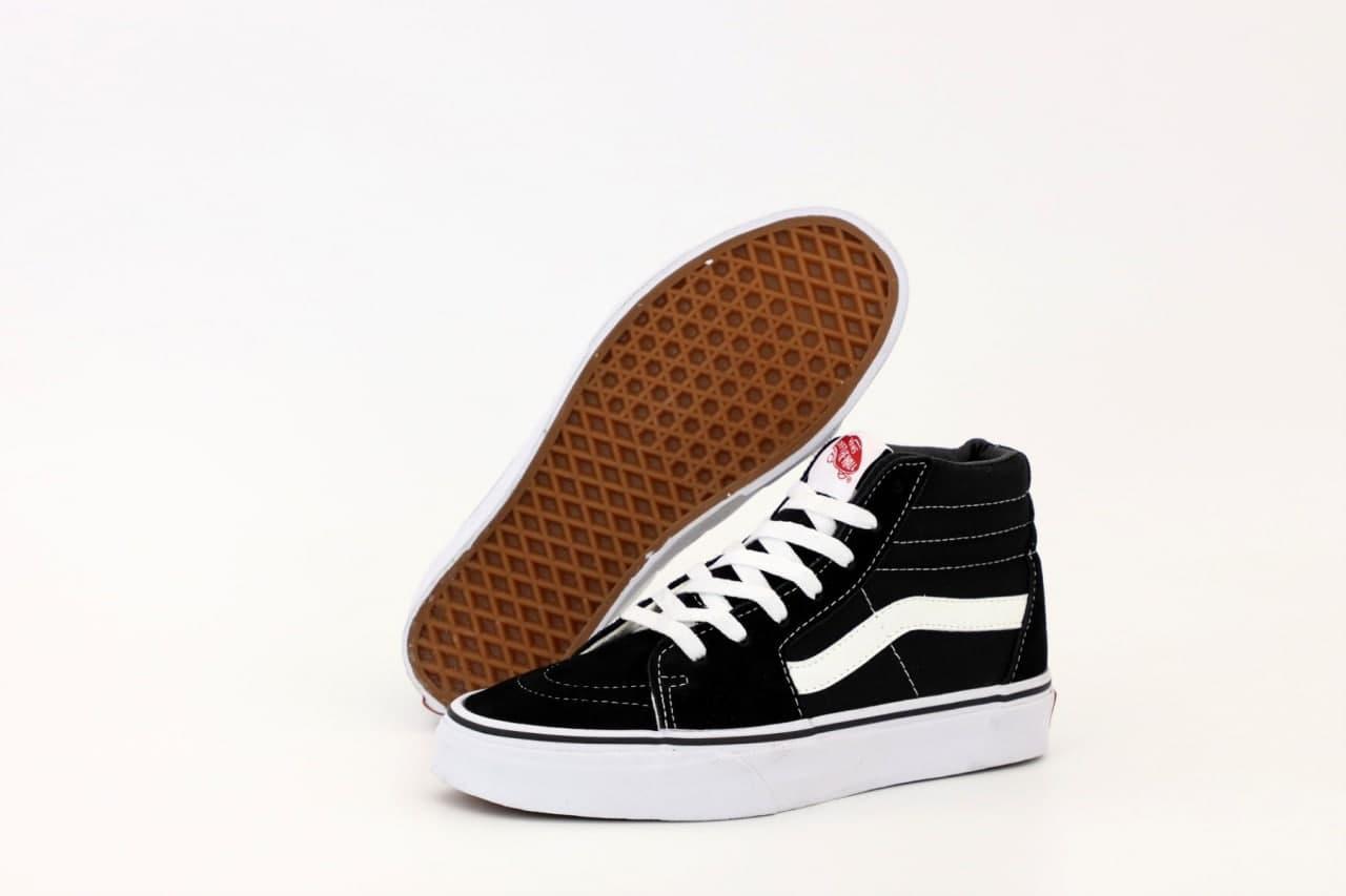 Жіночі весняні кеди VАNS SK-8 (чорний з білим) К11055 спортивна стильне взуття для дівчат