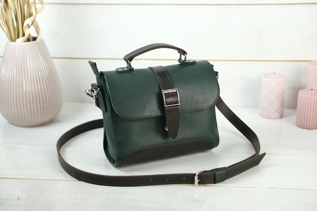 Сумка женская. Кожаная сумочка Марта, Кожа Итальянский краст, цвет Зеленый
