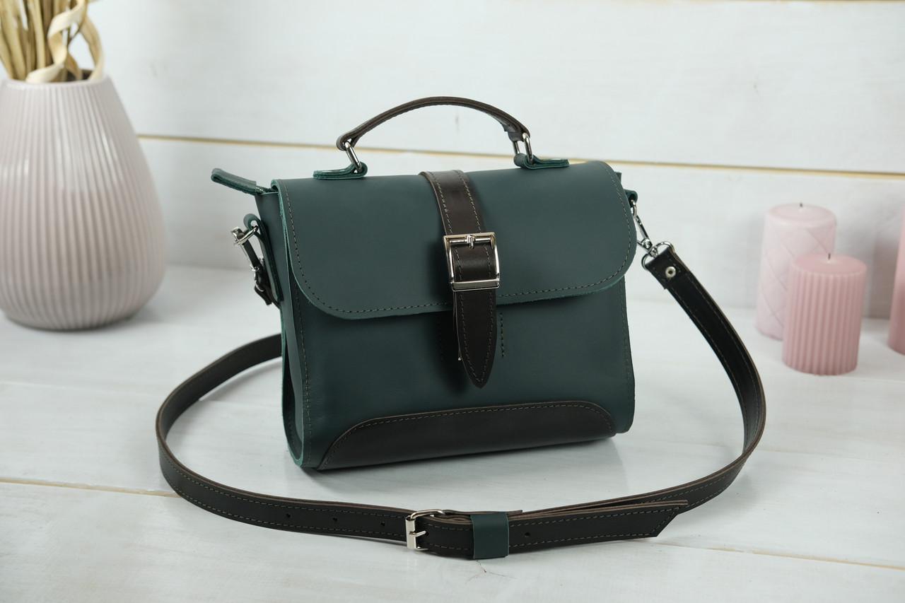 Сумка женская. Кожаная сумочка Марта, кожа Grand, цвет Зеленый