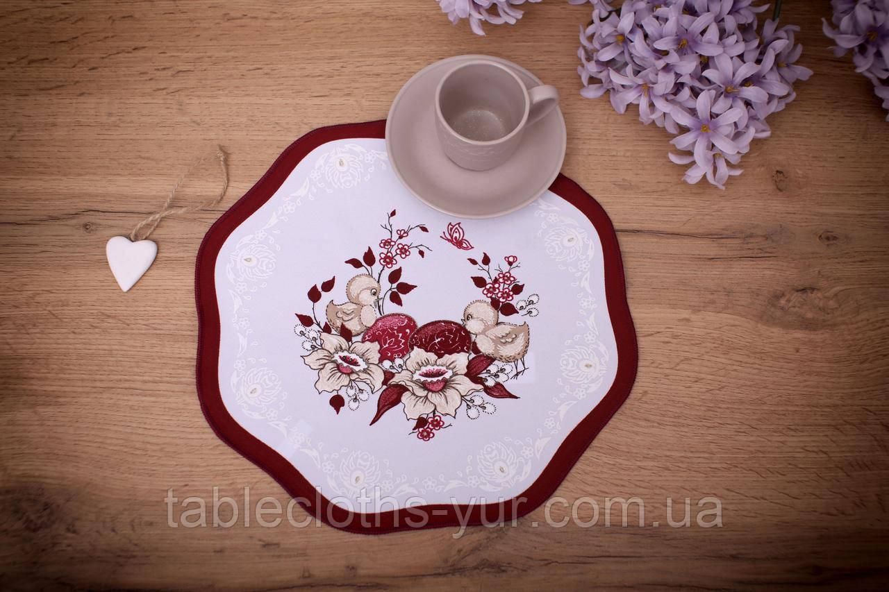 Салфетка Великодня 28 діаметр «Пташки» Червоний візерунок Біла