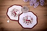 Салфетка Великодня 28 діаметр «Пташки» Червоний візерунок Біла, фото 2