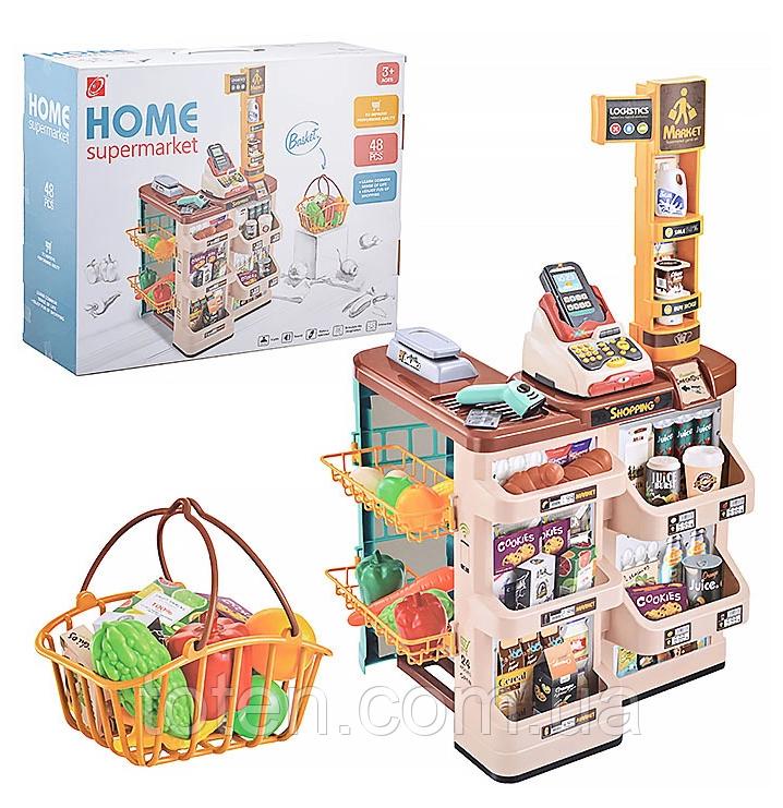 Детский супермаркет 48 предметов 668-85 Корзинка, кассовый аппарат, подсветка, музыка и звуки сканера