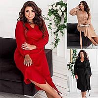 Р 46-60 Гарну шовкову сукню на запах середньої довжини Батал 23634