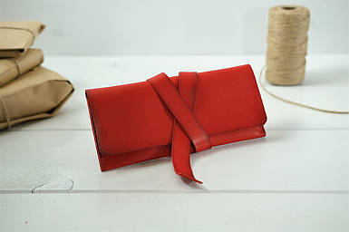 Клатч з закруткою, Шкіра Італійський Краст, колір Червоний