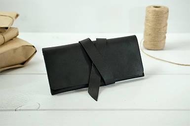 Клатч з закруткою, Шкіра Італійський Краст, колір Чорний