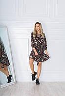 Весенне красивое молодежное платье в цветочный принт приталенное с оборками .Новое поступление весна лето