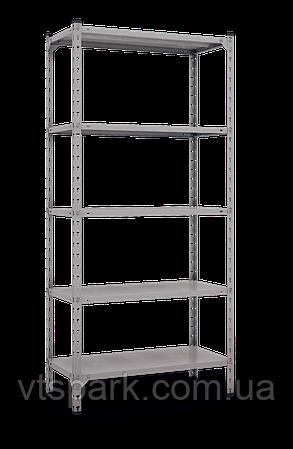 Стеллаж Комби 1800х1200х600мм, 180кг, 5 полок, металлические полки, оцинкованный для подвала, склада, архива
