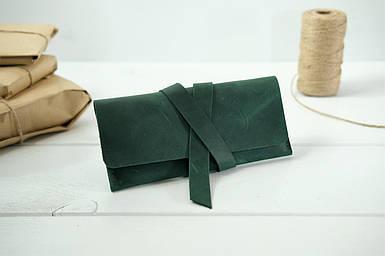 Гаманець клатч шкіряний з закруткою, Вінтажна шкіра, колір Зелений