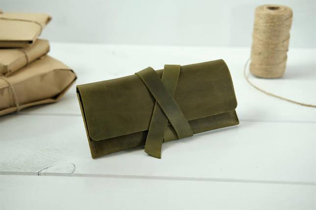 Кошелек клатч кожаный с закруткой, Винтажная кожа, цвет Оливковый, фото 2
