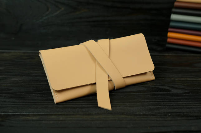 Кошелек клатч кожаный с закруткой, Кожа Grand, цвет Бежевый, фото 2