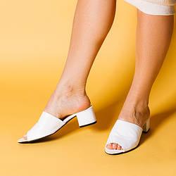 Кожаные женские шлепанцы на каблуке 4 см. Размер 36-41. Цвет на выбор