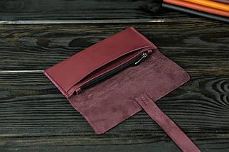 Гаманець клатч шкіряний з закруткою, Шкіра Grand, колір Бордо, фото 2