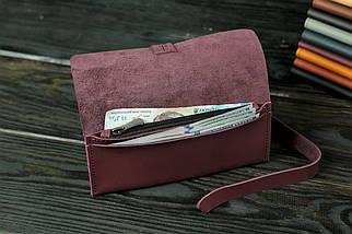 Гаманець клатч шкіряний з закруткою, Шкіра Grand, колір Бордо, фото 3