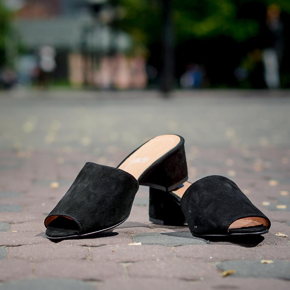 Замшевые черные шлепанцы на каблуке 4 см. Размер 36-41. Цвет на выбор